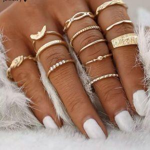 Jewelry - NEW 12 Piece Gold Boho Trendy Midi Ring Set